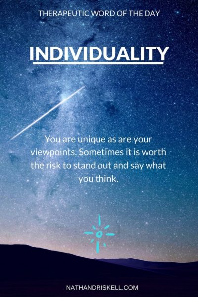 Therapeutic Word of the Day: Individuality